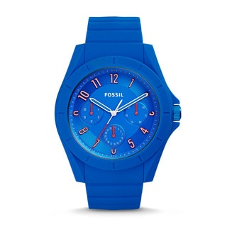 Fossil Men's FS5219 Poptastic Sport Multi-Function Blue Dial Blue Silicone Watch