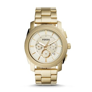 Fossil Men's FS5193 Machine Chronograph Gold Dial Gold-Tone Stainless Steel Bracelet Watch