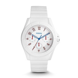 Fossil Men's FS5223 Poptastic Sport Multi-Function White Dial White Silicone Watch