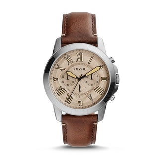 Fossil Men's Grant Chronograph Beige Dial Brown Leather Watch