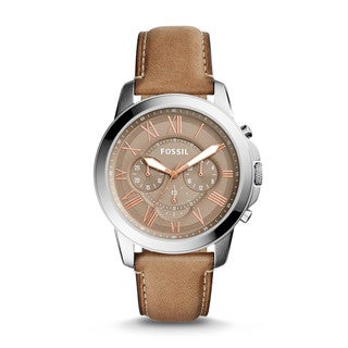 Fossil Men's FS5209 Grant Chronograph Brown Dial Light Brown Leather Watch