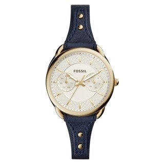 Fossil Women's ES4051 Tailor Multi-Function Gold Dial Indigo Leather Watch