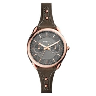 Fossil Women's ES4050 Tailor Multi-Function Gunmetal Dial Grey Leather Watch