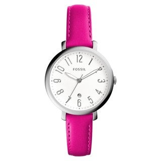 Fossil Women's ES4089 Jacqueline Analog White Dial Pink Leather Watch