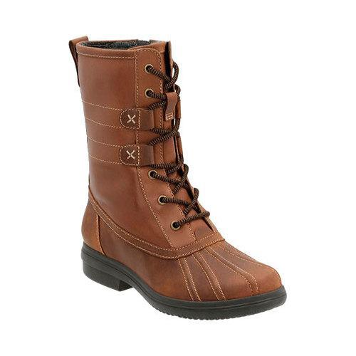 eb9370fab47 Women's Clarks Tavoy Juniper Waterproof Duck Boot Brown/Tan Cow Full Grain  Leather