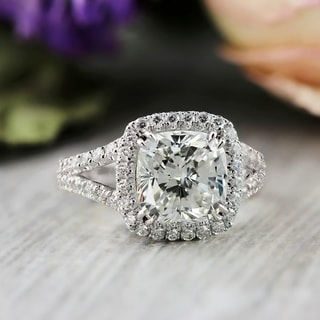 Auriya Platinum 4 1/3ct TDW Cushion-Cut Diamond Halo Engagement Ring (Option: 7.5)