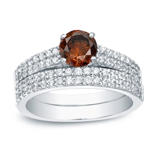Auriya Platinum 1 1/2ct TDW Round-Cut Brown Diamond Bridal Ring Set (Brown, SI1-SI2)