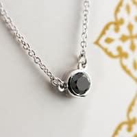 14k Gold Round 1/2ct TDW Bezel Set Solitaire Black Diamond Necklace by Auriya