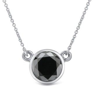 Auriya 14k Gold 2ct TDW Round-Cut Diamond Bezel Solitaire Necklace