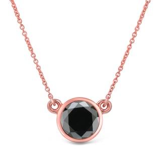 Auriya 14k Gold 3/4ct TDW Round-Cut Diamond Bezel Solitaire Necklace