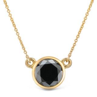 Auriya 14k Gold 1 1/2ct TDW Round-Cut Diamond Bezel Solitaire Necklace