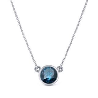 Auriya 14k Gold 1/4ct TDW Round-Cut Blue Diamond Solitaire Bezel Necklace (Blue, I1-I2)