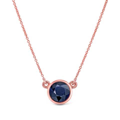 Auriya 1/4 carat Round Bezel Set Solitaire Blue Sapphire Necklace 14k Gold