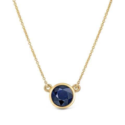 Auriya 14k Gold Bezel-set Sapphire Solitaire Necklace 1/4ctw