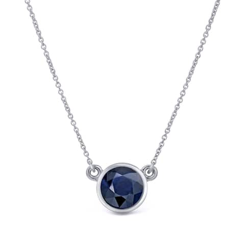 Auriya 1/4 carat Round Bezel Set Solitaire Blue Sapphire Necklace 14k Gold