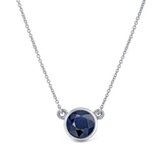 Auriya 14k Gold 1/4ct Round-Cut Blue Sapphire Solitaire Bezel Necklace