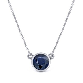 Auriya 14k Gold 1/3ct Round-Cut Blue Sapphire Solitaire Bezel Necklace