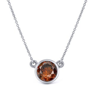 Auriya 14k Gold 1/2ct TDW Round-Cut Brown Diamond Solitaire Bezel Necklace (Brown, SI1-SI2)
