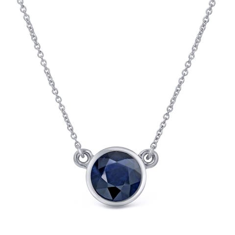 Auriya 1/2 carat Round Bezel Set Solitaire Blue Sapphire Necklace 14k Gold
