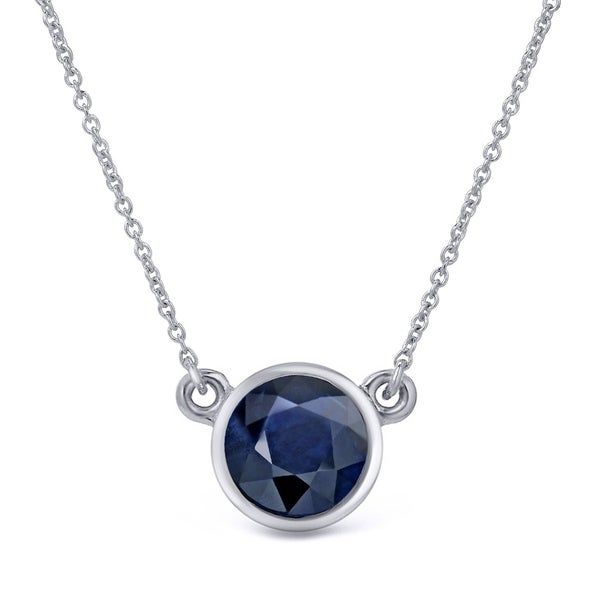 Auriya 3/4 carat Round Bezel Set Solitaire Blue Sapphire Necklace 14k Gold