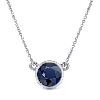 Auriya 14k Gold 3/4ct Round-Cut Blue Sapphire Solitaire Bezel Necklace