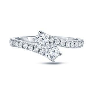 Auriya 14k Gold 1/2ct TDW Round-Cut Diamond 4Prong 2-Stone Engagement Ring (H-I,SI1-SI2)
