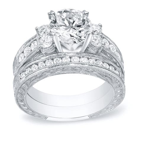 Auriya 14k Gold 2ctw Vintage Diamond Engagement Ring Set