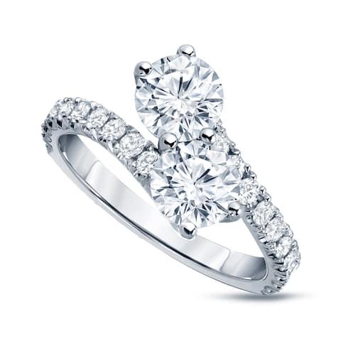 Auriya 14k Gold 2ctw Round 2-Stone Diamond Engagement Ring