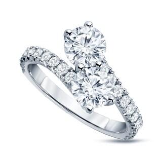 Auriya 14k Gold 2ct TDW 2-Stone Round Diamond Engagement Ring
