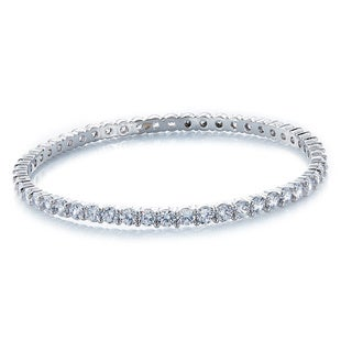 Silver Over Bronze Cubic Zirconia All Slip-on Bangle Bracelet