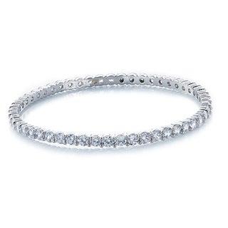 Silver Over Bronze Cubic Zirconia All Slip-on Bangle Bracelet