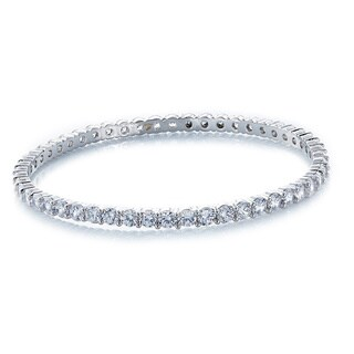 Cubic Zirconia Round Brilliant Slip-on Bangle Bracelet