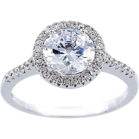 2 Carat Equivalent Cubic Zirconia Solitare Halo Design Silver Ring