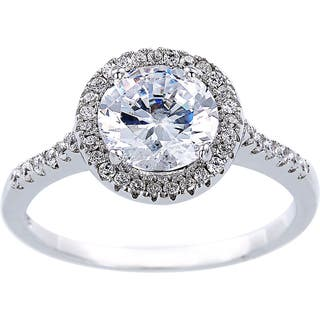 2 Carat Cubic Zirconia Solitare Halo Engagement Ring, Sterling Silver