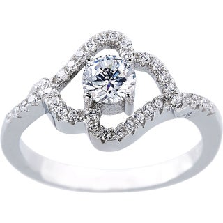 Sterling Silver Cubic Zirconia Heart Shape Halo Design Solitaire Engagement Ring