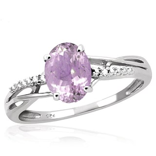 Jewelonfire 1.05 CTW Pink Amethyst Gemstone & Accent White Diamond Ring in Sterling Silver