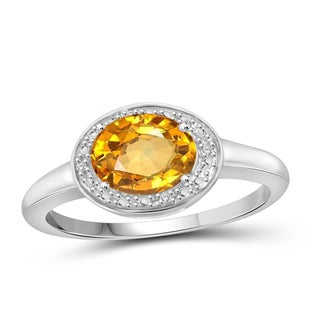 Jewelonfire 1.10 CTW Citrine Gemstone & Accent White Diamond Ring in Sterling Silver