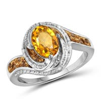 Jewelonfire 1.10 CTW Citrine Gemstone & 1/10 CTW Champagane & White Diamond Ring in Sterling Silver