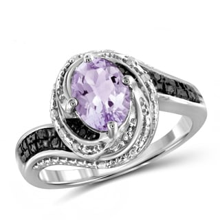 Jewelonfire 1.05 CTW Pink Amethyst Gemstone & 1/10 CTW Black & White Diamond Ring in Sterling Silver