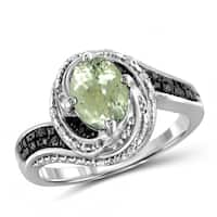 Jewelonfire 1.30 CTW Green Amethyst Gemstone & 1/10 CTW Black & White Diamond Ring in Sterling Silver