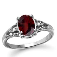 Jewelonfire 1.60 CTW Garnet Gemstone & 1/20 CTW White Diamond Ring in Sterling Silver