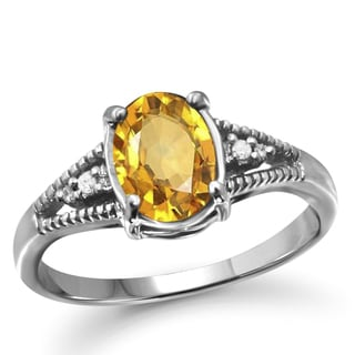 Jewelonfire 1.10 CTW Citrine Gemstone & 1/20 CTW White Diamond Ring in Sterling Silver