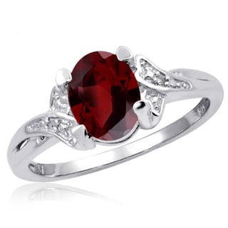 Jewelonfire 1.60 CTW Garnet Gemstone & Accent White Diamond Ring in Sterling Silver
