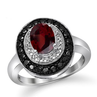 Jewelonfire 1.60 CTW Garnet & 1/7 CTW Black & White Diamond Ring in Sterling Silver