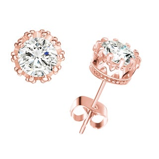 Rose Goldtone Genuine White Topaz Crown Stud Earrings