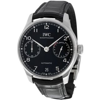 IWC Men's IW500703 'Portugieser' Automatic Black Leather Watch