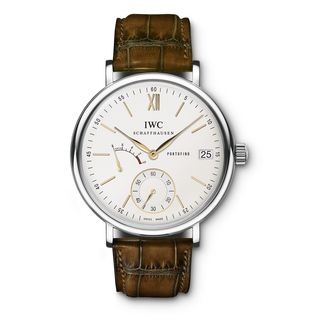 IWC Men's IW510103 'Portofino' Hand Wound Eight Days Brown Leather Watch