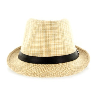 Faddism Fashion Leather and Fabric Fedora Hat with Silver Buckle Trim