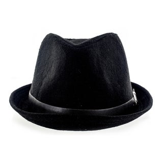 Faddism Fashion Felt Fedora Hat With Leather Trim and Silver Buckle