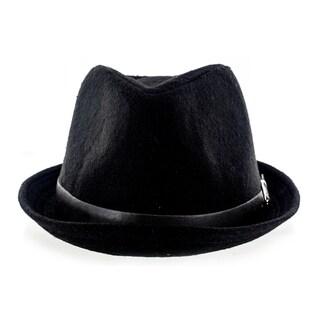 Faddism Fashion Felt Fedora Hat With Leather Trim and Silver Buckle